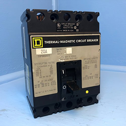 - Square D FHP36020TF 20A Circuit Breaker 480/600V 3 Pole Type FAL Series 2 20 Amp