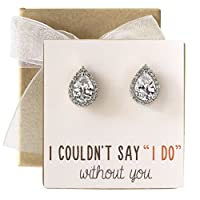 Cubic Zirconia Bridesmaid Stud Earrings, Bridal Party Gift