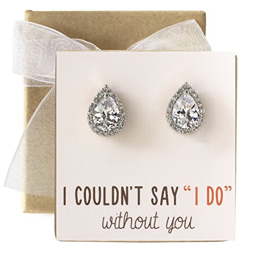 - Cubic Zirconia Bridesmaid Stud Earrings, Bridal Party Gift
