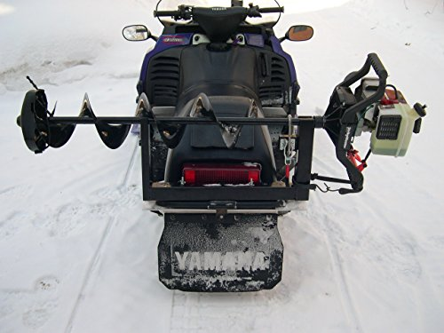 Ice fishing auger carrier holder for snowmobile atv utv for Atv ice fishing accessories