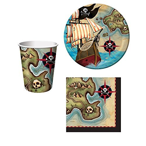 Pirate's Map Birthday Party Set: Plates, Napkins, and Cups Kit for 16 -