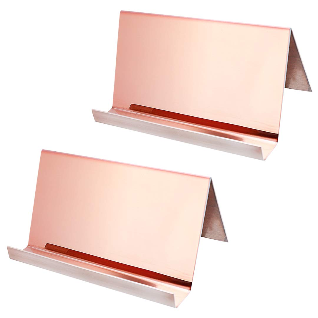 2 Pack Desktop Business Card Holder for Office Desk Name Card Display Rack Organizer Stainless Steel by WUYASTA (Image #1)