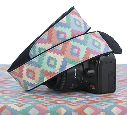 Camera Strap Southwestern 168, Pastel Earth Toned, Cotton, dSLR, SLR, (Sling Pastel)