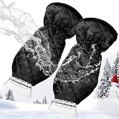 MATCC 2 Pack Ice Scraper Mitt Windshield Snow Scrapers with Waterproof Snow Remover Glove Lined of Thick Fleece Black