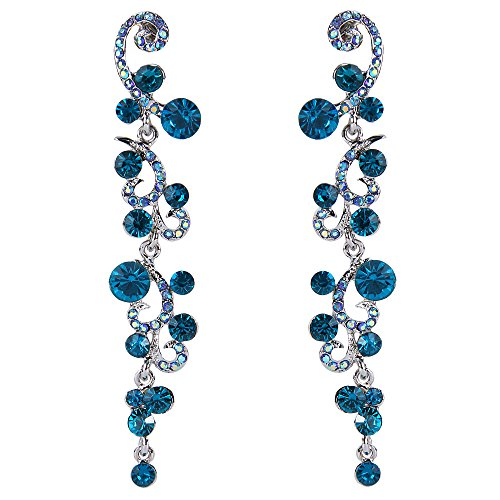 EVER FAITH Bridal Flower Wave Austrian Crystal Dangle Earrings Silver-Tone - Blue