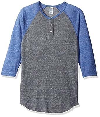 Alternative Mens 3/4 Raglan Henley 3/4 Sleeve Henley Shirt - Gray - X-Small