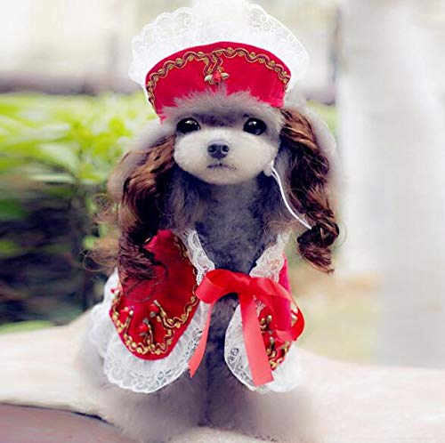 BeesClover High Grade Dogs Cats Lovely lace Wig hat Cloak Set pet Dog cat Fashion Princess caps Scarf Suit Pets Grooming Accessories 1pcs PF20 L