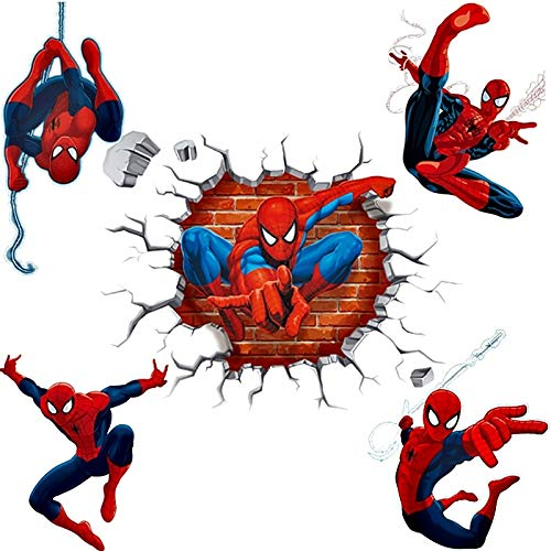ONION STICKER 3D Effect Hero Spiderman Wall Stickers for Kids Rooms Nursery Home Decor Cartoon Decorative Wall Decals PVC Poster DIY Mural Art ()