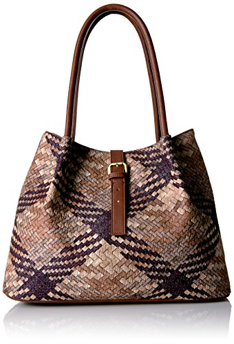 Tan Handbag Woven (Bueno of California Embossed Woven Faxu Leather Tote, Brown/Tan/Medium Brown/Tobacco)