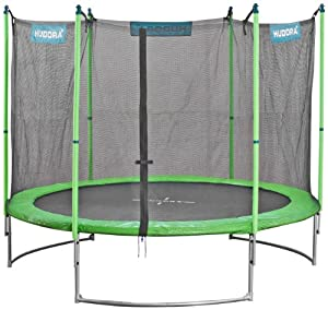 Hudora Family Trampolin mit Sicherheitsnetz, grün/schwarz, 250 cm, 65620
