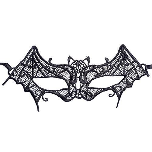 Tuscom Unshaped Bat Sexy Lace Catwoman Mask,for Nightclub Bar Halloween Masquerade(2 Style) (Black)