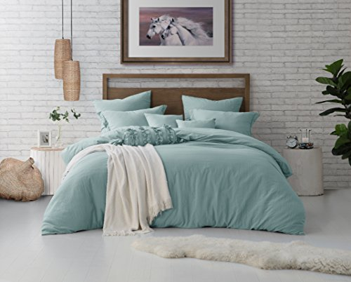 (Swift Home Microfiber Washed Crinkle Duvet Cover & Sham (1 Duvet Cover with Zipper Closure & 1 Pillow Sham), Premium Hotel Quality Bed Set, Ultra-Soft & Hypoallergenic – Twin/Twin XL, Dusty Mint)