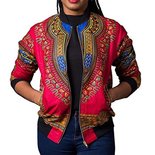 Kulywon Women African Print Long Sleeve Dashiki Short Jacket (L, Hot Pink) by Kulywon (Image #1)