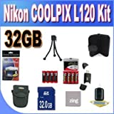 Nikon COOLPIX L120 32GB Accessory Saver Kit (32GB SDHC Memory Card+ 2 Sets of 4 NIMH Rechargeable AA Batteries+ Rapid Battery Charger + Memory Card Wallet+ Accessory Kit)