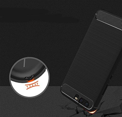 Funda Samsung Galaxy J7 Prime, EUGO Protector Funda Negro Gel de Silicona Carcasa Fibra de Carbono Funda para Samsung Galaxy J7 Prime Huawei Honor V9