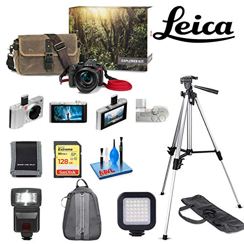 - Leica V-LUX (Typ 114) Digital Camera Explorer Kit with Sandisk 128GB Memory Card, Memory Card Wallet,Mini Portable LED Video Light, 72 Inch Professional Aluminum Tripod, Digital Flash, Deluxe Backpack