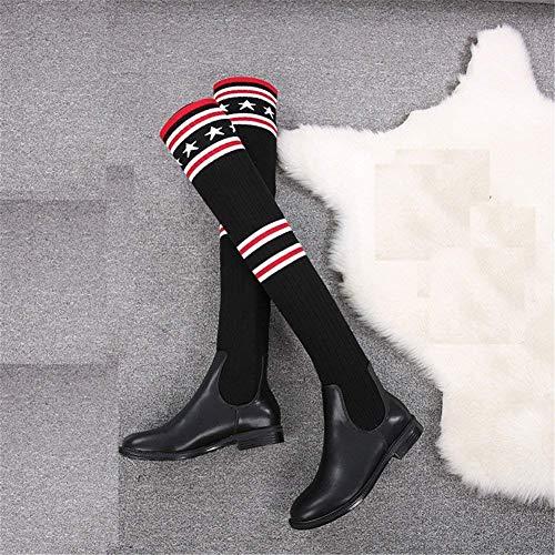 Sed Sobre Eu negro Elástico Raya Con Zapatos 37 Rodillas 36 Altas La De Punto Los Señoras Gruesa Eu Las Botas agxrqAa