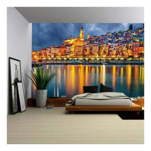 wall26 - Provence Village Menton After Sunset - Removable Wall Mural | Self-Adhesive Large Wallpaper - 66x96 inches