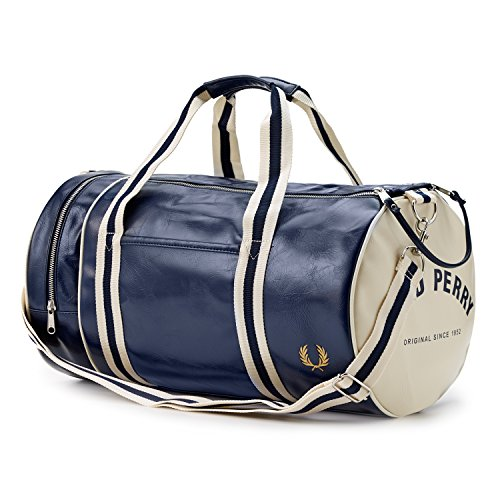 Fred Perry Men's Classic Barrel Bag, Navy/Ecru, One Size