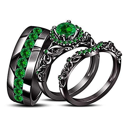 Emerald Sterling Silver Mens Bands - 14K Black Gold Plated Green Emerald Trio Bridal Wedding His & Her Ring Band Set 925 Sterling Silver