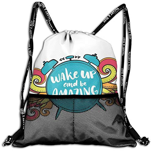 Drawstring Backpack bags, Positive Message On Alarm Clock Figure Wake Up And Be Amazing