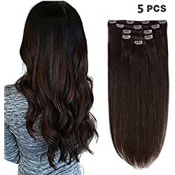 """5 Pieces 14"""" Remy Clip in Hair Extensions Human Hair Dark Brown - Beauty Silky Straight Short Thick Real Hair Extensions for Women Fashion (14 inches, #2, 70grams)"""