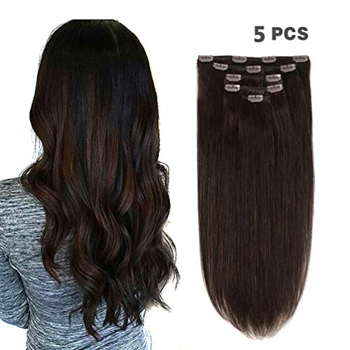 Brown Human Hair Clip - 5 Pieces 14