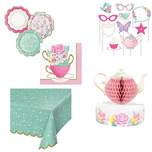 Olive Occasions Floral Tea Party Supplies Serves 16 Flower Shaped Cake Plates, 16 Tea Cup Beverage Napkins, Table Cover, Photo Props, Centerpiece and Grandma Olive's Recipe -
