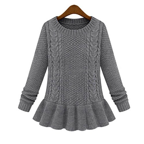 Cardigan Link Stitch (Retro Winter Mixed Stitch Women's Long Sleeved Pullover Sweater with Ruffled Bottom (Gray))