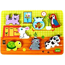 "Cute Pets Baby Animal Chunky Wooden Puzzle for Toddlers, Preschool Age w/ ""Easy-Hold"" Colorful Solid Wood Pieces. Simple Educational & Sensory Learning for 1, 2 & 3 Year Olds"