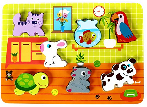 Cute Pets Baby Animal Chunky Wooden Puzzle for Toddlers, Preschool Age w/Easy-Hold Colorful Solid Wood Pieces. Simple Educational & Sensory Learning for 1, 2 & 3 Year Olds