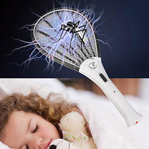 Sinwo Rechargeable LED Electric Bug Zappe Fly Swatter Mosquito Bug Zapper  Racket Insect Killer (Black)