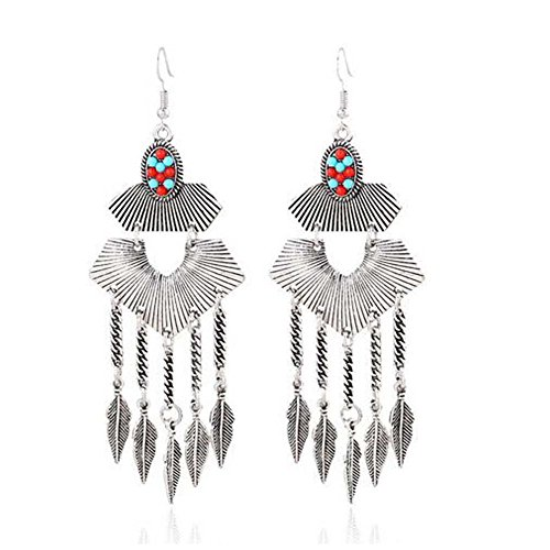 Christmas GERGER BO Women's European And American Fashion Retro Exaggerated Bohemian Leaves Tassel Earrings
