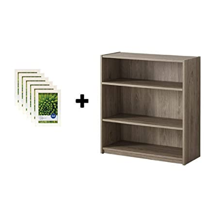 Swell Mainstay 3 Shelf Bookcase Wide Bookshelf Storage Wood Furniture 1 Fixed Shelf 2 Adjustable Shelves Bookcase Rustic Oak With Picture Frames Download Free Architecture Designs Rallybritishbridgeorg