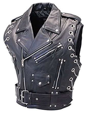 Jamin' Leather Chromed Out Leather Motorcycle Vest w