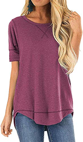 CIZITZZ Sweatshirt for Women Round Neck Solid Side Split Shirt Loose Casual Short Sleeve Plus Tunic Dark Red XL
