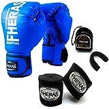 Kit Boxe Muay Thai - Luva + Bandagem + Bucal Azul - Fheras