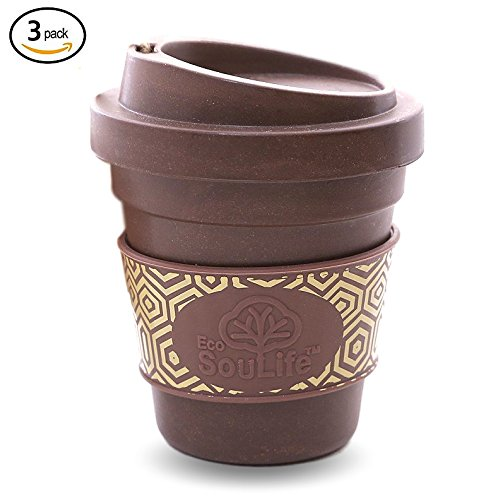 ECO SOULIFE Sippy Cup Coffee Mug Set - 12 Oz Biodegradable Bamboo Mug with Travel Secured Lid | Made Eco-Friendly for Coffee, Tea, and Hot Drinks (Coffee, 3 Sip Cup Mugs)