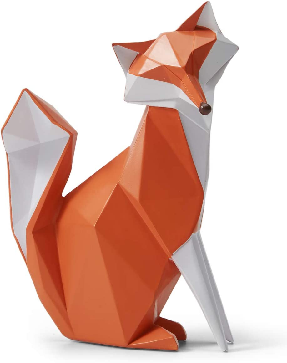 SEINHIJO Sculpture Statue Fox Figurine Geometric Animal Decor for Home Gifts Souvenirs Giftbox Resin 20cmH