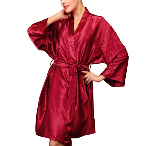 Zhhlinyuan Womens Satin Dressing Gown Kimono Robe Wedding Kimono Nightwear Sleepwear Bathrobe Wine Red