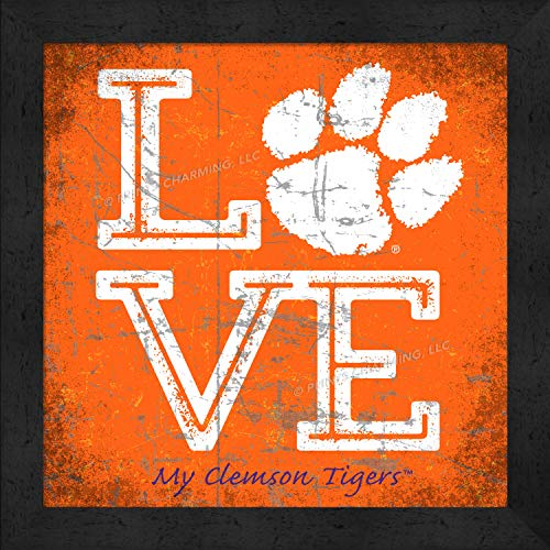 - Prints Charming College Love My Team PAW Logo Square Color Clemson Tigers Framed Posters 13x13 Inches