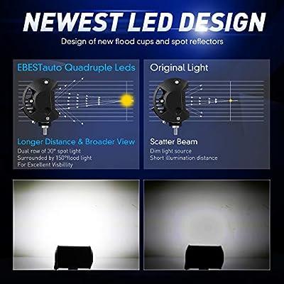 "Quad Row LED Pods LED Driving Light 2Pcs 5"" 168W LED Light Bar Spot Flood Combo Beam Off Road LED Cubes Work Light Fog Lamps for Trucks Jeep ATV UTV SUV Boat Marine, 2 Years Warranty"