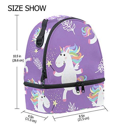 hombro doble picnic almuerzo de ajustable el Bolso blanco unicornio diseño correa para de color para 6WaUx4xc