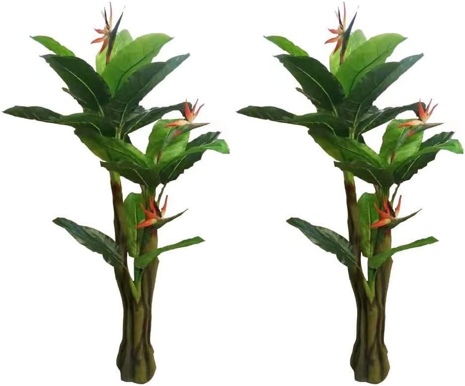 Pair AMERIQUE Gorgeous & Unique 6 Feet Bird of Paradise Artificial Plant Trees, Feel Real Technology, Green and Orange