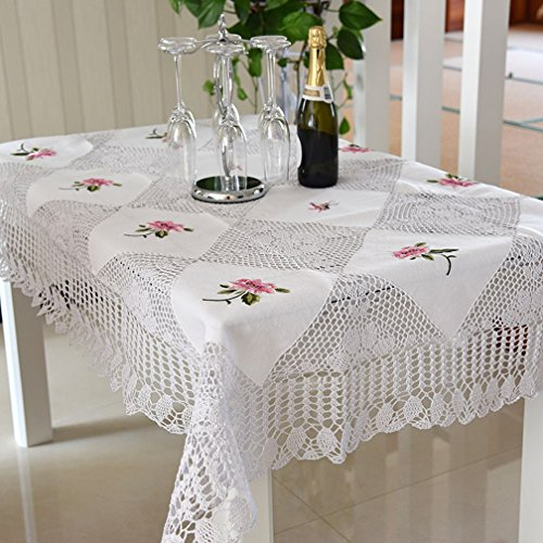 Fashion 100% Handmade Crochet Tablecloth Vintage Table Topper Floral Embroidered Table Cover Elegant Christmas Decorations Rectangle Tablecloth 54 By 72 Inch