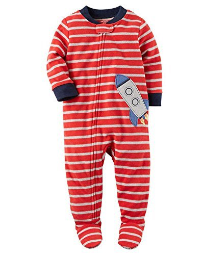Ship Applique - Carter's Boys1 Piece Striped Rocket Ship Applique Zip Up Footed Pajama Red/Grey 12M