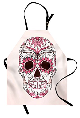 Ambesonne Sugar Skull Apron, Mexican Ornaments Calavera Catrina Inspired Folkloric Art Macabre, Unisex Kitchen Bib Apron with Adjustable Neck for Cooking Baking Gardening, Pink Pale Pink (La Calavera Catrina Costume)