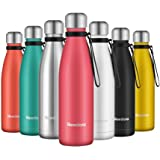 Newdora Insulated Water Bottle 500ml Stainless Steel Water Bottle BPA Free Double-Walled Vacuum Flask for Sports 12 Hours Hot/24 Hours Cold with Cleaning Brush(Pink)