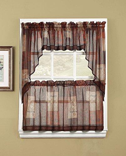 - S. Lichtenberg Eden Kitchen Tier Curtains; 56 By 24inch; Multi; New