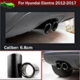 2pcs Hot Sale New Car Chrome Stainless Steel Exhaust End Tail Pipe Tip Tailpipe Muffler Pretector Cover Trim Emblems Black Color Custom Fit For Hyundai Elantra Sedan 2012 2013 2014 2015 2016 2017 2018